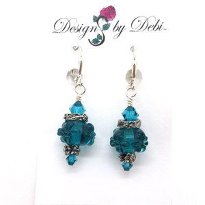 Blue Zircon Glass & Crystal Floral Earrings